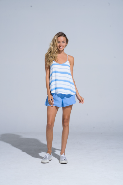 Buddha Wear: Modell 'Lea Singlet - Aqua Stripes'