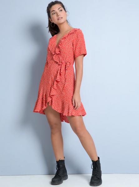 Buddha Wear: Modell 'Adele Mini Dress - Dots Lipstick'