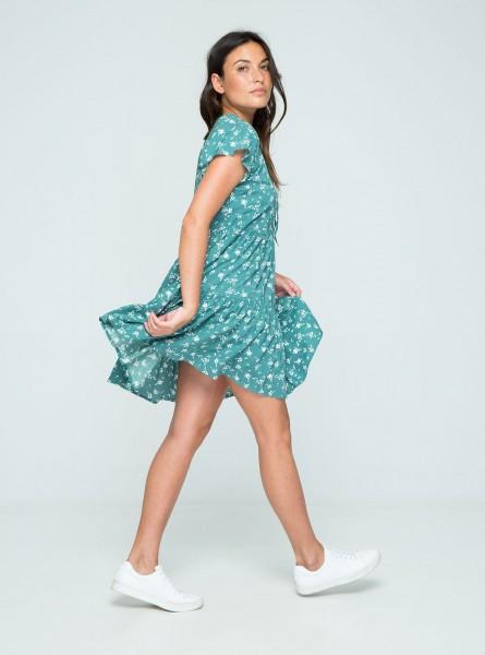 Buddha Wear: Modell 'Poppy Mini Dress - Pine Flowers'