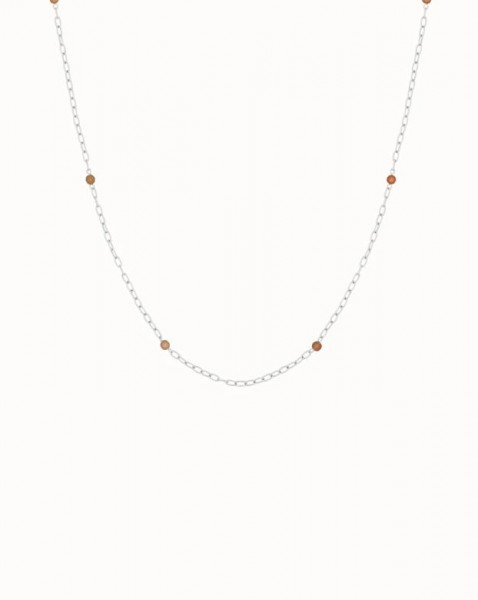Flawed: Modell 'Peach Moonstone Chain Necklace - Silber'