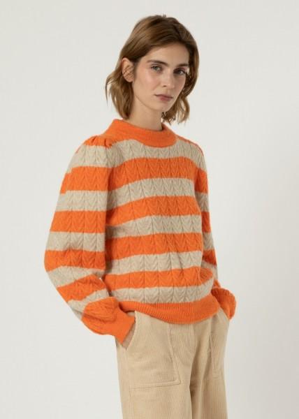 FRNCH: Modell 'Neve Pullover - Orange/Creme'