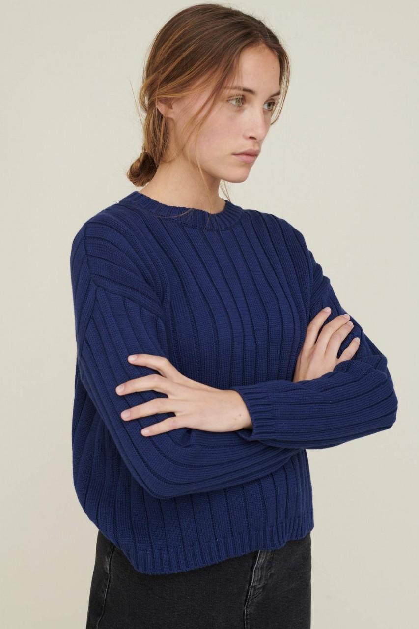 Basic Apparel: Modell 'Siff Sweater - Indigo'