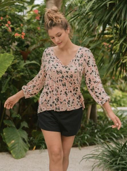 Buddha Wear: Modell 'Ramona Blouse - Flamingo Flowers'