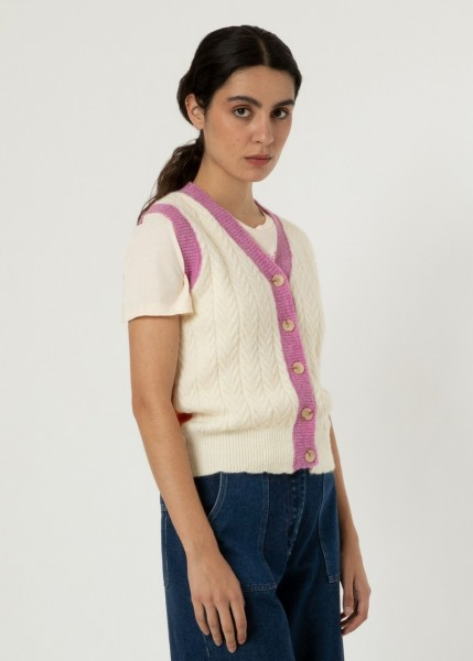 FRNCH: Modell 'Marie-Lou Pullunder - Creme/Pink'