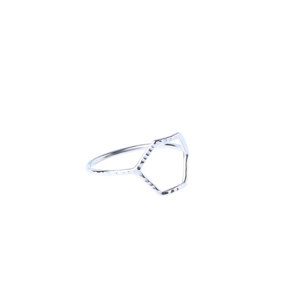 Facetted Hexa Ring - White Rhodium