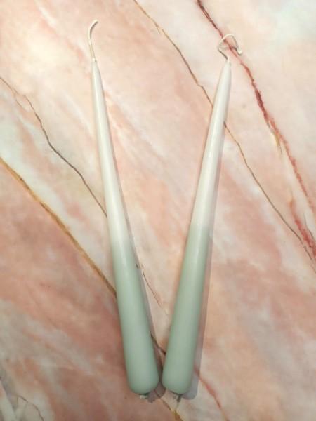 Kerzen - Zweifarbige Kerze Salbei/Weiß