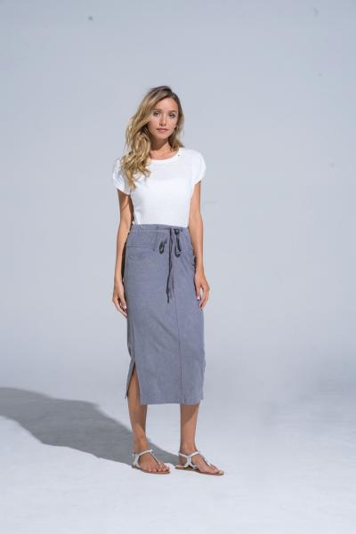 Buddha Wear: Modell 'Lenora 2.0 Midi Skirt - Vintage Grey'