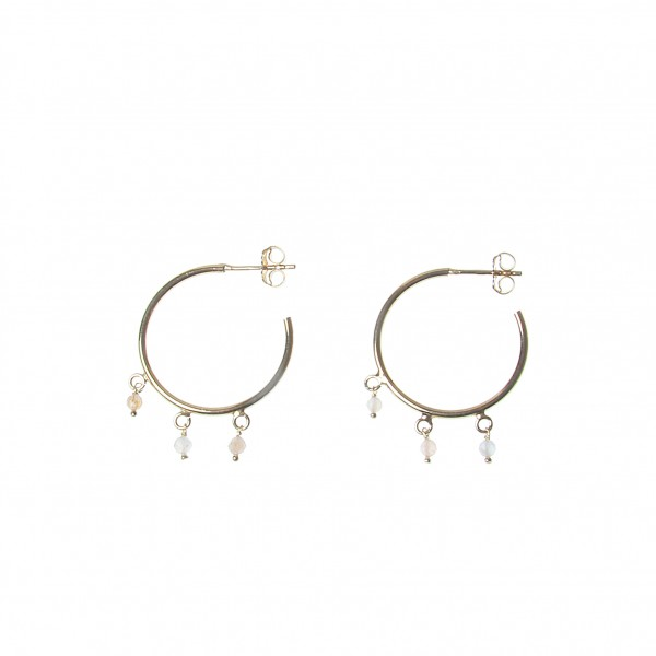 epic: Modell 'Stone Moonstone Hoops- Gold'