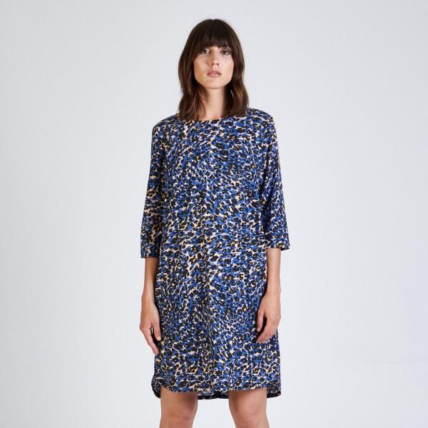 Stoffbruch: Modell 'Freya Dress - Blue / Beige (Leo)'