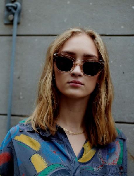 A.Kjærbede: Modell 'Big Kanye Sonnenbrille - Demi Grey/Crystal Transparent'