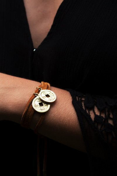Mentah Wrap Bracelet - Brown Gold
