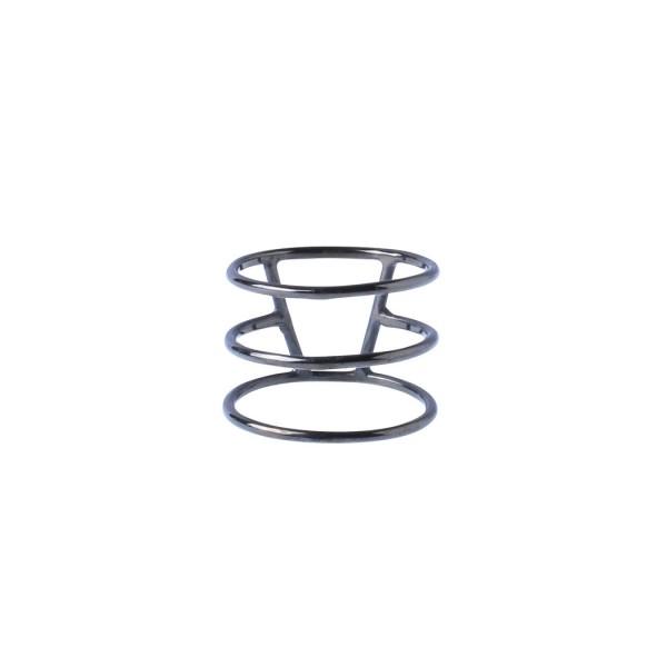 Silver Stripe Triple Ring - Black Rhodium