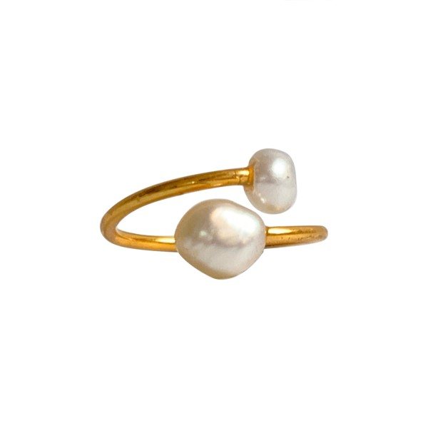 Ibu Jewels: Modell 'Ring Double Pearl - Gold'