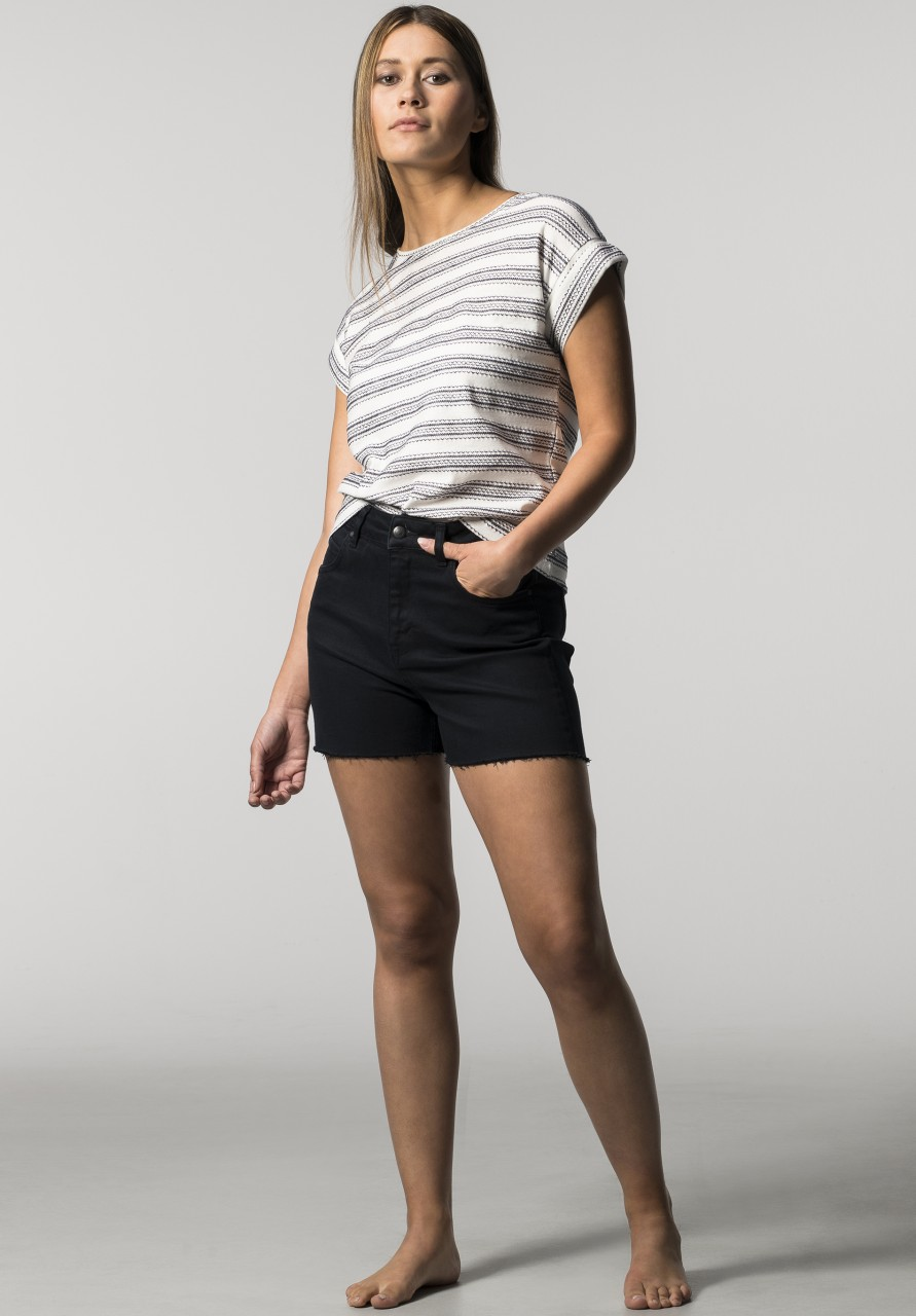 Lovjoi: Modell 'T-Shirt Russula Fancy Jersey - Ivory/Black'