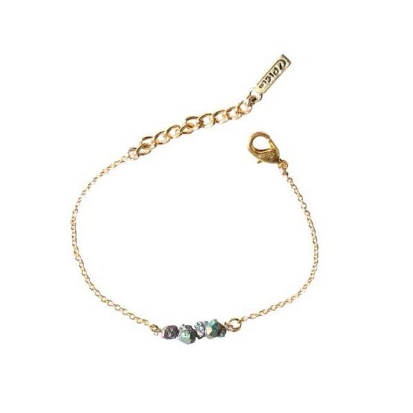 Rainbow Stone Bead Bracelet - Gold