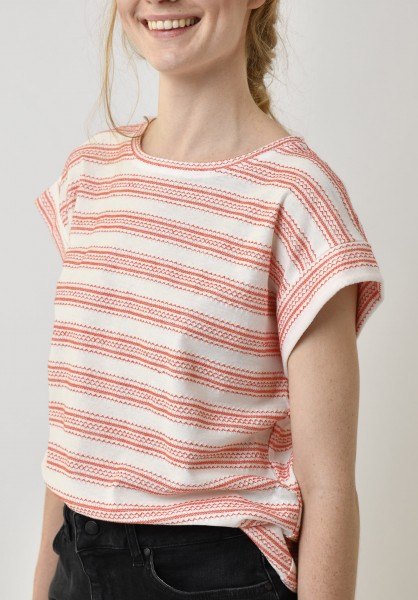 Lovjoi: Modell 'T-Shirt Russula Fancy Jersey - Ivory/Melon'