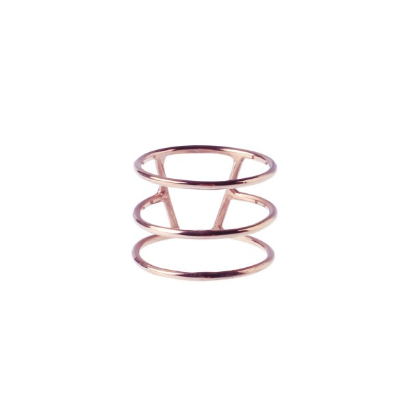 Silver Stripe Triple Ring - Rosegold