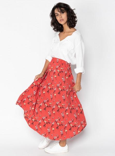 Buddha Wear: Modell 'Dally Midi Skirt - Ruby Flowers'