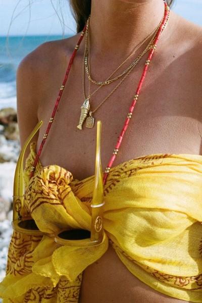 Coco Bonito: Modell 'Red Coral Sunnycord - Gold'