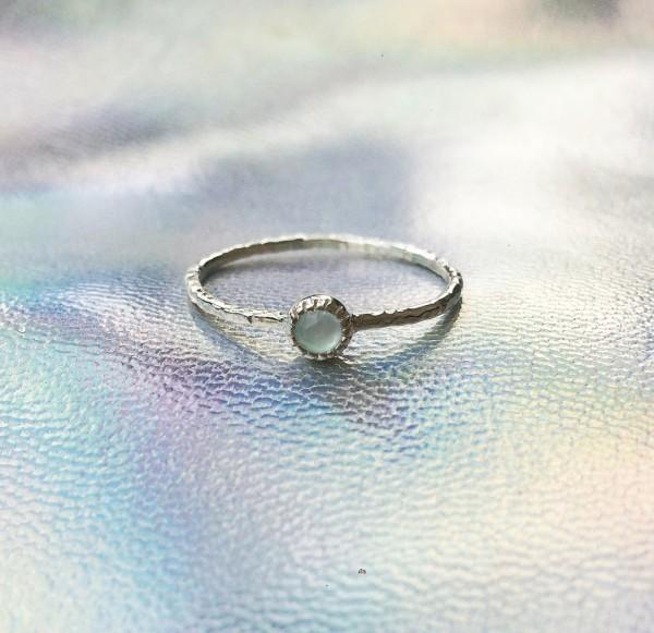 Stone Ring Aqua Calcedon - Silver